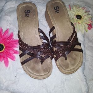 S.O. Wedge Sandals size 9.5/10 Brown